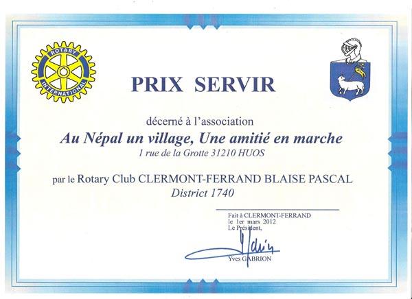 Prix SERVIR décerné par le Rotary Club CLERMONT-FERRAND BLAISE PASCAL