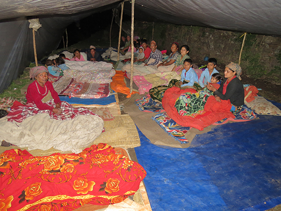 Temporary shelter for many families in Thulodhunga.