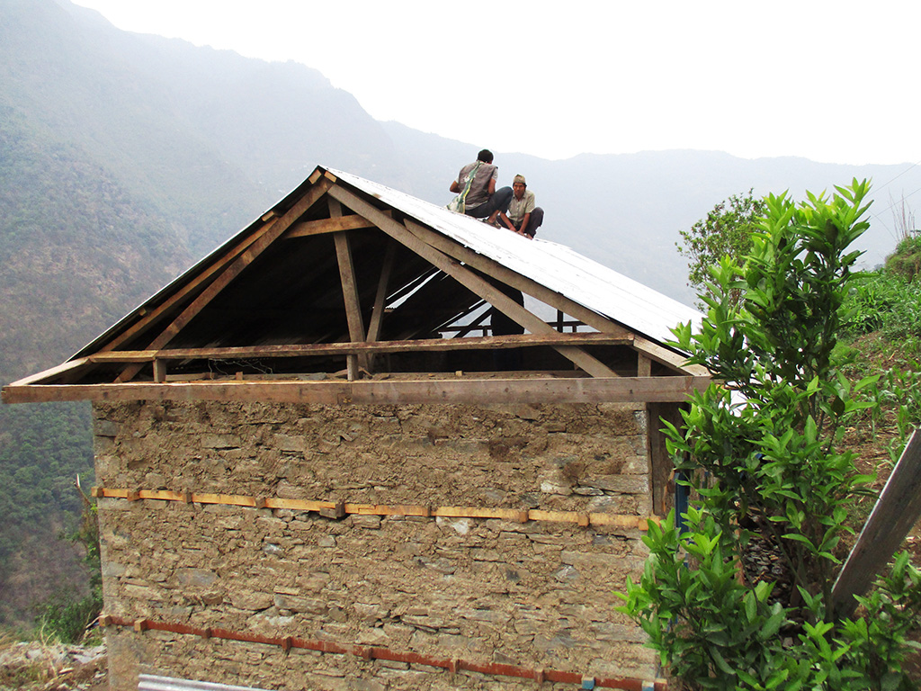 Zinc roof being installed